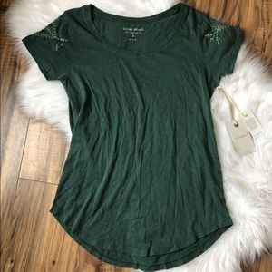 Lucky Brand Embroidered Sleeve Green Tee